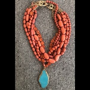 Coral and turquoise statement necklace BSU colors